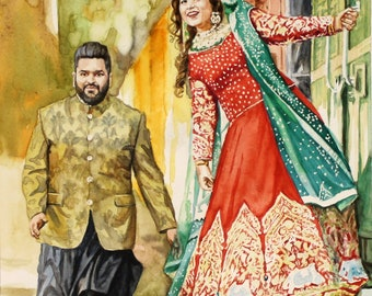 Two people portrait couple portrait wedding illustration Family portrait Couple Portrait Custom painting from photos personalized