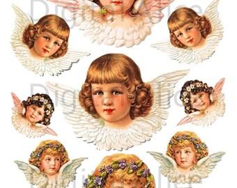 Vintage VICTORIAN ANGELS Clip Art- Instant Download Digital Printable Collage Sheet, crafts,Christmas,tDiY