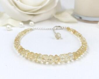Citrine Bracelet, Sterling Silver, November Birthstone, Gift For Her, Gift for Him, Yellow, Beaded Bracelet, Gift, Gold, Gemstone, Wedding