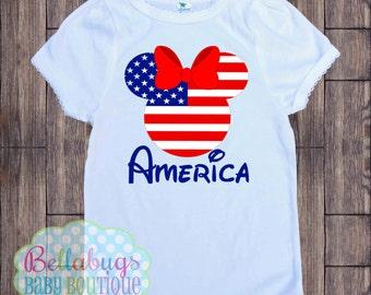 Drapeau américain Minnie Disney Body ou T-Shirt - Amérique - quatrième de juillet