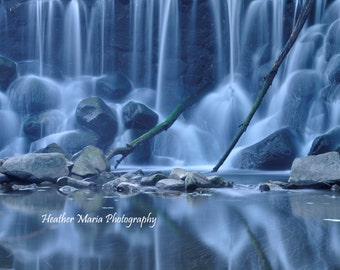 """titled """"Ghostly"""" Ethereal Twilight waterfall reflection, fine art photography"""