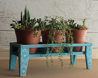 Spring Planting - plant stand with planters - Tropical decor - table top plant stand - reclaimed wood crate