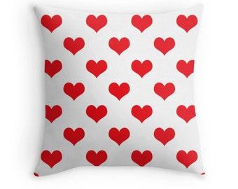 Red Heart Pillow, Red Heart Throw Pillow, Red Heart Pillow Case, Red Heart Bedding, Red Heart Toss Pillow, Red Heart Pillow Cover, Red Decor