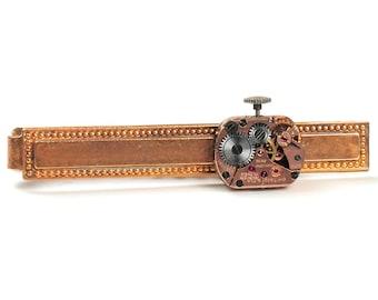 Steampunk Vintage Rose Gold Tissot Watch Brass Tie Bar Alligator Clip