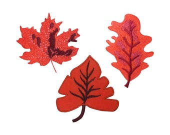 ID 1421ABC Set of 3 Autumn Leaf Patches Fall Tree Embroidered Iron On Applique