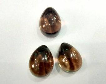 36Ct 100% Natural Loose Gemstone Smokey Quartz Cabochon Pear 12x16x9 MM