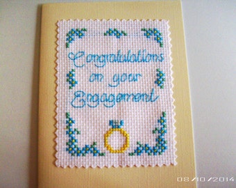Engagement Cross-Stitch Greeting Card - Handmade Greeting Card - Pre-Wedding Greeting Card