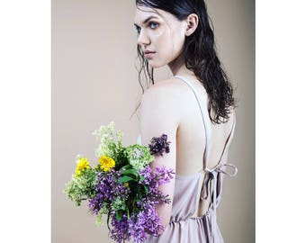 lavender dress, summer dress, open back dress, romantic dress, midi dress, everyday dress, birthday dress, vintage dress, comfy dress.