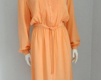 Retro 1970s Peach Silk Che Chee Belted Dress Size Small