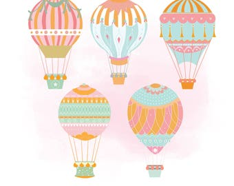 Hot air baloons SVG clipart, Wedding graphic Art, air baloon Digital Cutting File, Clipart in Svg Dxf Png Jpeg Cricut & Silhouette