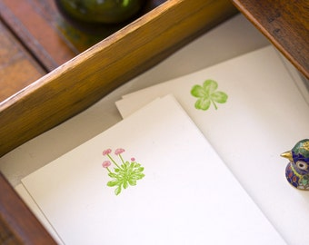 Flat Card Set with Letterpress Flowers