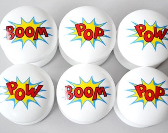 Comic Strip Drawer Knob, Comic Strip Drawer Pull, Dresser Pull, Superhero Knob, Superhero Pull, Kids Room, Children's Room, Kids Knob.