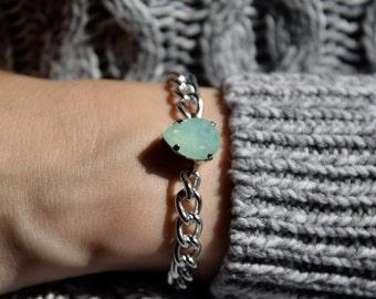 Small Swarovski Tear Drop Crystal Stainless Steel Bracelet