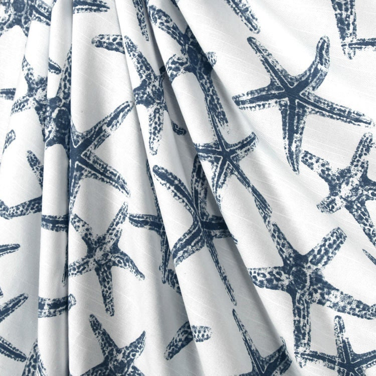 Shower Curtain Navy Blue Starfish White