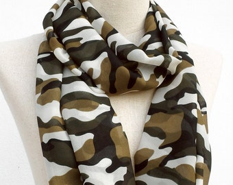 Camouflage Scarf, Military Scarf, Infinity Scarf, Loop Circle Scarf, Soft Chiffon Scarf