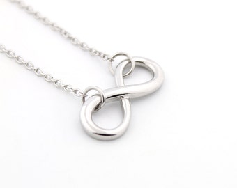 Sterling silver 925 Infinity necklace infinity shape pendent necklace (N-16)