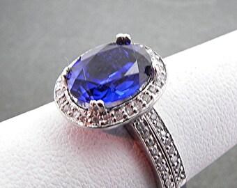 AAA Manmade Blue Sapphire   10x8mm  3.14 Carats   in 14K White gold diamond bridal set(.50ct) 0977 B108 MMMM