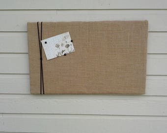 Burlap pinboard with macrame cord or Jute Twine, Vision or Bulletin Board, Natural buralp Photo Memory Board, Memo Pin Board, 16 x 26 inches