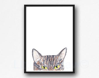 Peeking Tabby Cat Watercolor Painting Art Print Minimalist Wall Art Cat Lover Gift Wall Decor Tabby Cat Gift Cat Decor Peeking Cat Unframed