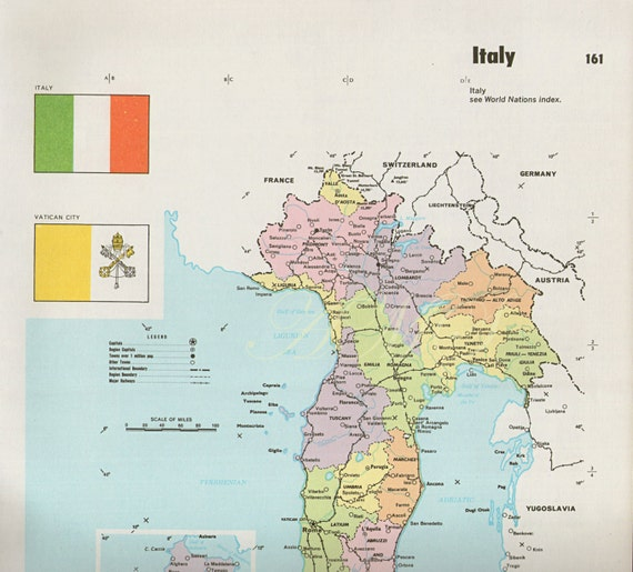 Large Map of ITALY with flags 1960s atlas antique map Rome