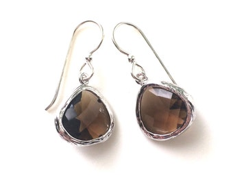 Smoky Quartz Earrings, Smoky Quartz Silver, Brown Gemstone Earrings