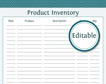 Product Inventory - Fillable - Business Planner - Printable Organizational PDF - Instant Download