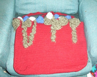 Felted Tote with leaves and Flowers