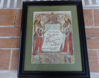 antique fraktur Hereford Berks co Pennsylvania Dutch German folk art 1866 framed Landis 1800's birth certificate baptismal