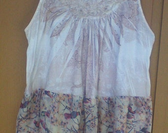 Lightweight Summer Cool Re-fashioned Birds and Flowers Sleeveless Top Size 1X