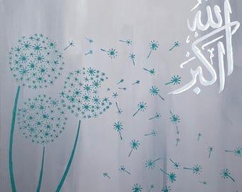 Allahuakbar Dandelion Painting handpainted Islamic Calligraphy