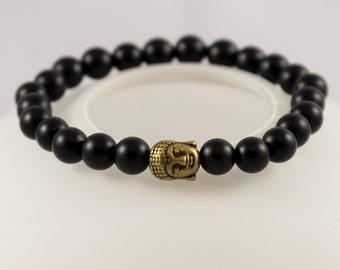 Matt Black Onyx Bronze Buddha Bracelet, Mala Bracelet, Men Beaded Bracelet, Stretch Bracelet, Men Bracelet, Gift for Him, Bracelet for Men,