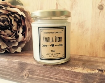 Peony Scented Soy Candle, Scented Candles, Soy Candles, Vanilla Peony Scented Candle, 10oz  Natural Soy Candles
