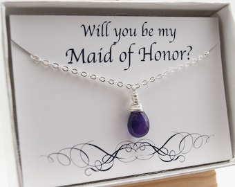 Will You Be My Maid of Honor Necklace with Card Set - Thank You Gift - Amethyst Necklace - Birthstone Necklace Asking Maid of Honor Necklace
