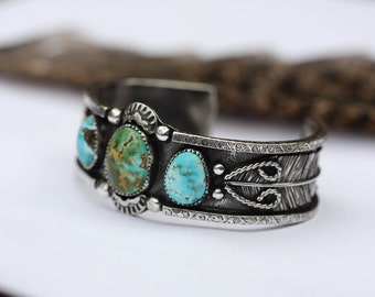 RESERVED. Triple Turquoise Cuff. Natural Turquoise Bracelet. Southwestern Cuff. Stacking Cuff. Sterling Silver Feather Cuff.