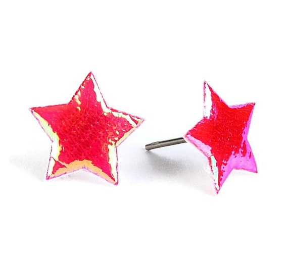 Red garnet shiny iridescent star fabric hypoallergenic stud earrings (393)