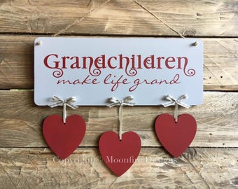 Personalised Grandchildren Hanging Plaque