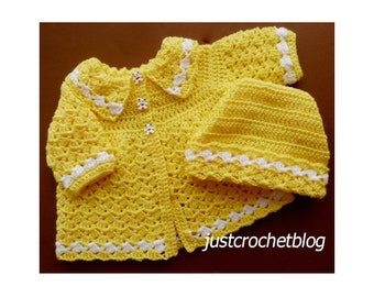 Crochet Coat and Ski Hat Baby Crochet Pattern (DOWNLOAD) 16pBFJC