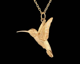 Small 14k Yellow Gold  Hummingbird Pendant or Necklace (Optional Chain)