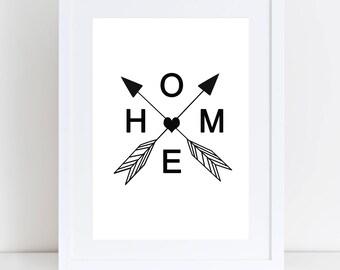 Home Arrow Print, Scandinavian Print, Home Arrows, Black Print, Home Artwork, Home Decor