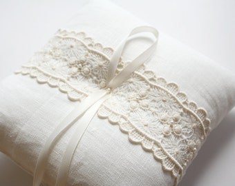 Lace Ring Pillow, Ring Bearer Pillow, Ring Cushion, Ring Bearer, Ivory Ring Pillow