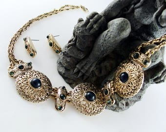 Bijoux Terner Renaissance Style Stone-Set Necklace and Earrings