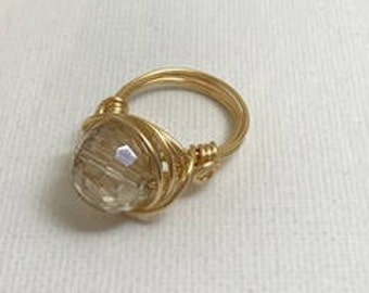 Beaded Wire Ring, Gold Wire Beaded Ring, Gift For Her, Size 6 Ring, Handcrafted