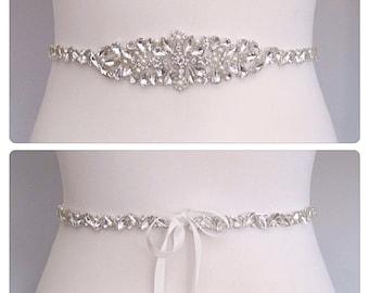 Crystal Bridal sash wedding dress belt vintage style pearl bridal sash, Kim