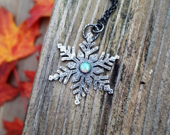 Opal snowflake necklace - christmas - winter - etsymetal team