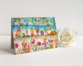 Greeting card rustic Enchanted village card Marika Lemay mixed media artist bucolic houses trees and flowers