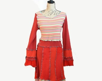 Summer Cashmere Dress Recycled Sweater Medium Bell Cuffs Recycled Cotton and Cashmere RED