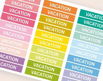 Vacation Heading stickers, planner header stickers, planner stickers, agenda notebook journal stickers, reminder holidays