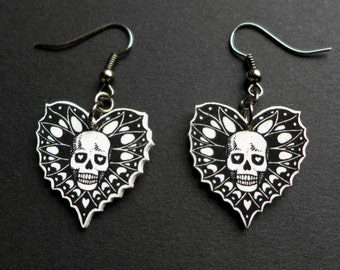 Skull Dangle Earrings, skull jewellery, skull and heart dangle earrings, illustration, handmade