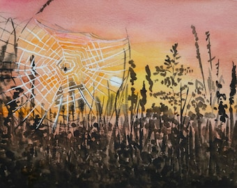 Sunset, original painting,grass on the meadov,landscape with sunset,sunset on the meadov,grass,grassland,meadow landscape, spider, spiderweb