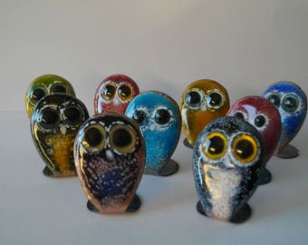 Little OWL to install, made in enamels on copper-lover/collector creation z' glazes